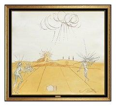 Salvador Dali Color Aquatint Etching Hand Signed Paysage Ave Figures Soleil Art