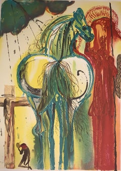 Le Centurion The horses of Dali - Lithograph - Surrealist - 1983