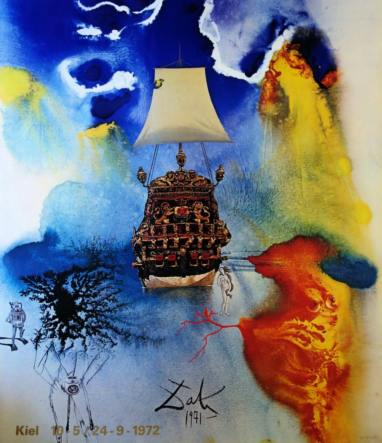 Man and Sea - Vintage exhibition poster - 1972 - Print by (after) Salvador Dali
