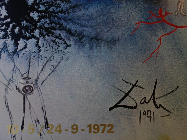Salvador Dali (after) Man and Sea  Exhibition poster printed in offset, with some color in lithograph and metallic ink Signature printed in the plate 119 x 84 cm (c. 48 x 34 inch) Edited in 1972 for the cultural events organized during The Munich