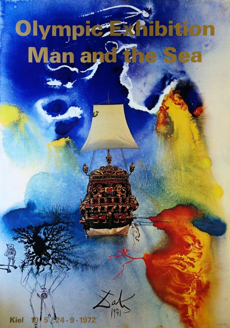 (after) Salvador Dali Figurative Print - Man and Sea - Vintage exhibition poster - 1972