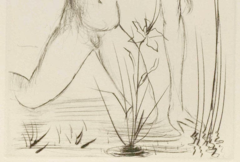 Etching by Spanish artist Salvador Dalí (1904-1989), one of the most controversial artists of the 20th century. Brilliant, innovative, grandiose and flamboyant, he is credited with the popularization of Surrealism. He frequently used mythic figures