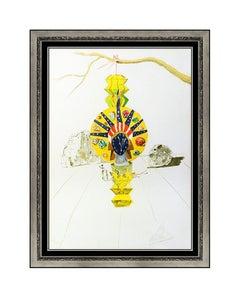 Salvador Dali American Clock Color Lithograph Hand Signed Surreal Framed Artwork