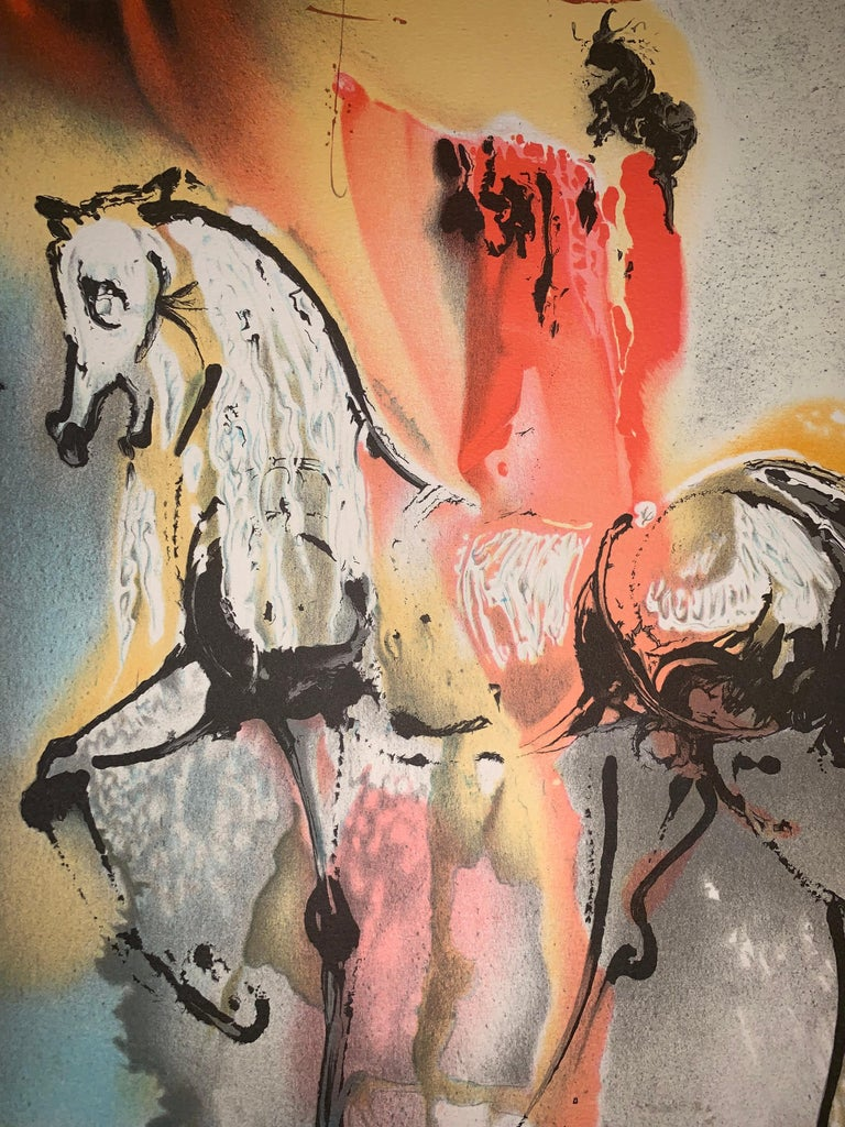 The Christian Knight - The horses of Dali - Lithograph - Surrealist - 1983 - Brown Figurative Print by (after) Salvador Dali