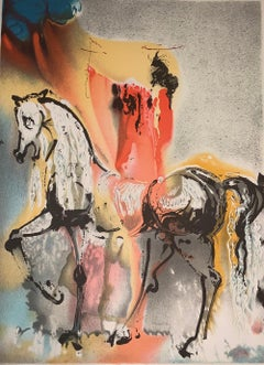 The Christian Knight - The horses of Dali - Lithograph - Surrealist - 1983
