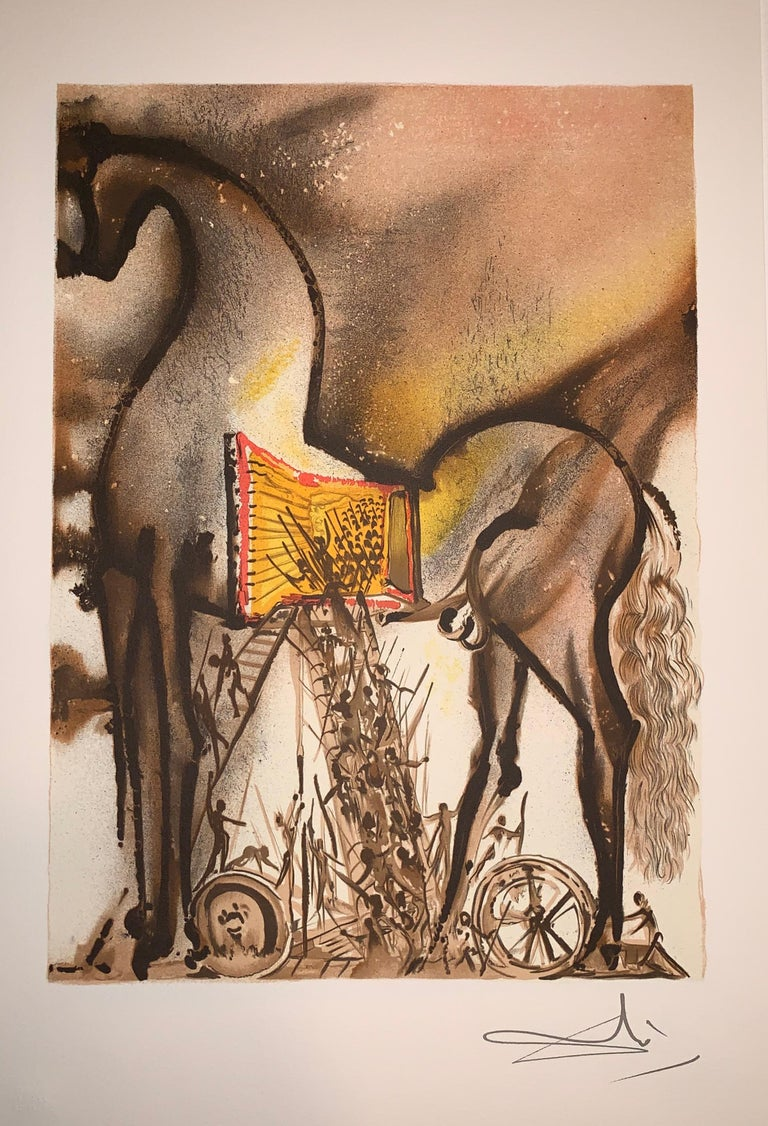 Trojan Horse - The horses of Dali - Lithograph - Surrealist - 1983 2
