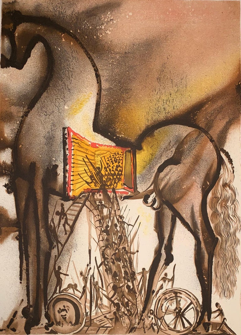 Trojan Horse - The horses of Dali - Lithograph - Surrealist - 1983 1