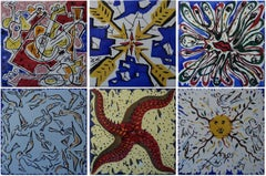 Complete set of 6 ceramic tiles designed by Dali - 1954