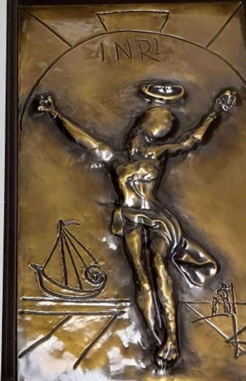 Salvador Dali Christ of Saint John of the Cross BAS Relief Sculpture Gold