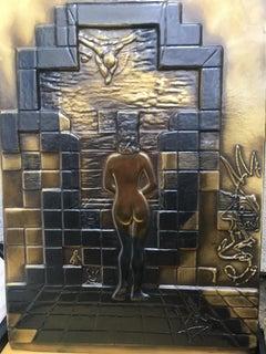 Salvador Dali Lincoln In Dalivision Bronze Relief Sculpture Signed Surreal Art
