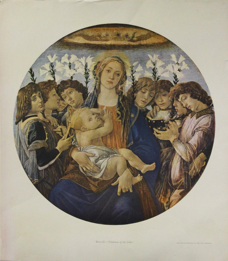 (After) Sandro Botticelli Portrait Print - Madonna of the Lilies-Poster. Published by Raymond and Raymond, Inc. New York.