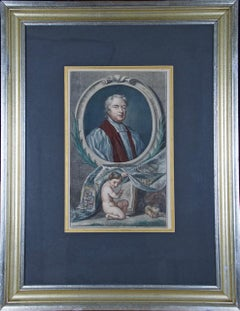 Hand-Colored Portrait of Tillotson, Archbishop of Canterbury by Kneller