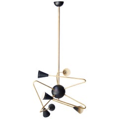 After Stilnovo Triangular Black Brass Ceiling Lamp, Italian, 1950