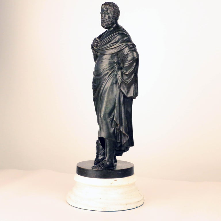After the Antique, Grand Tour Bronze of Aristotle In Good Condition For Sale In Montreal, QC