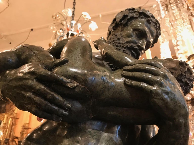 Italian After the Antique, Silenus and the Infant Bacchus a Serpentine Group For Sale