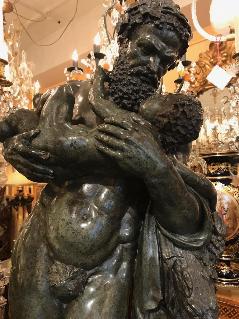 Carved After the Antique, Silenus and the Infant Bacchus a Serpentine Group For Sale