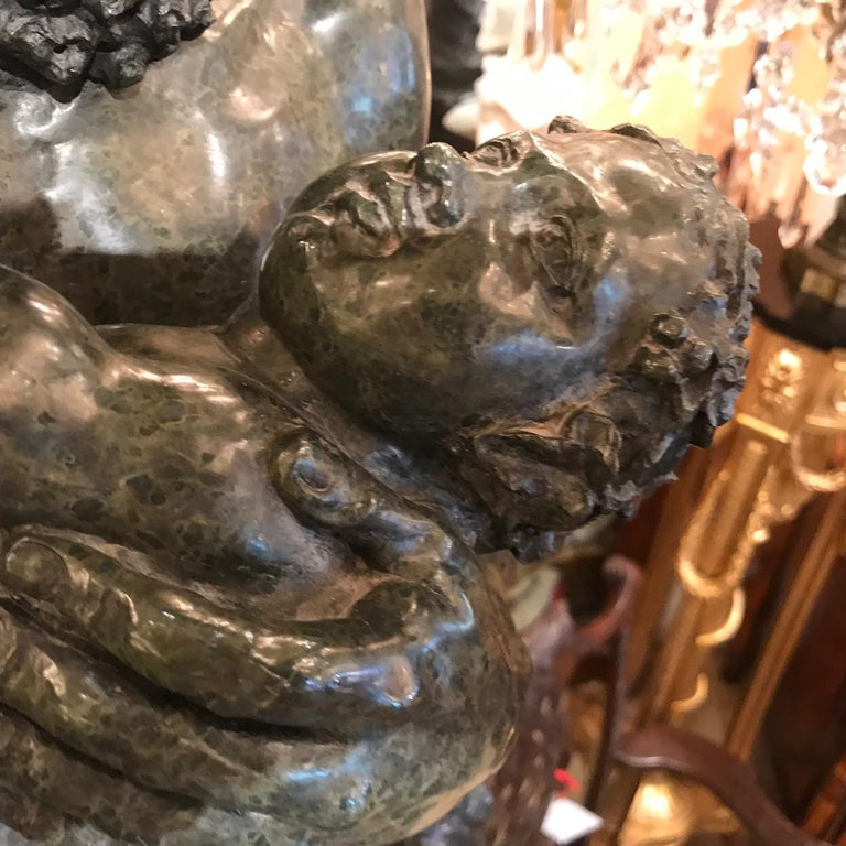 After the Antique, Silenus and the Infant Bacchus a Serpentine Group In Good Condition For Sale In Montreal, QC