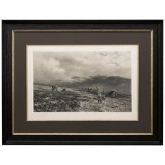 Douglas Adams Signed Antique Print, Hunting Scene, Artist Proof, circa 1893