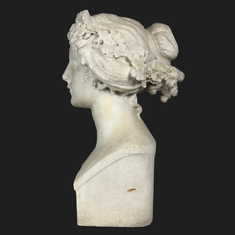 Classical Greek After the Greek Archaic Carved White Marble Bust of Calliope For Sale