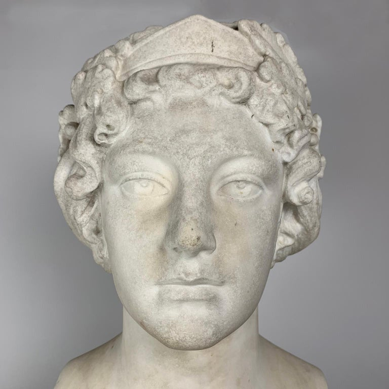 19th Century After the Greek Archaic Carved White Marble Bust of Calliope For Sale