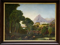 Dream of Arcadia an American School Oil Painting After Thomas Cole