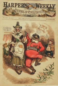 A Merry Christmas original wood engraving by Thomas Nast 1880