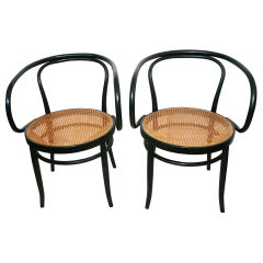 After Thonet 209, Pair of Cane and Black Bentwood Chairs, 1950s