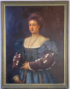 18th c. Italian Portrait Oil Painting LA BELLA After Titian