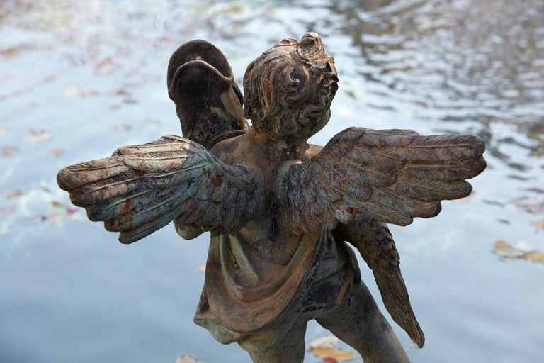 After Verrocchio, Detailed Bronze Water Garden Statue of Cherub and Fish, 1940s For Sale 8