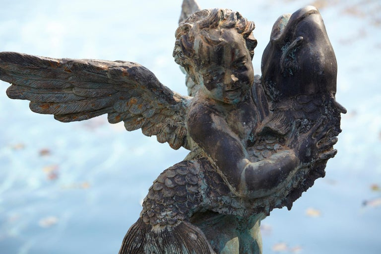 After Verrocchio, Detailed Bronze Water Garden Statue of Cherub and Fish, 1940s For Sale 10