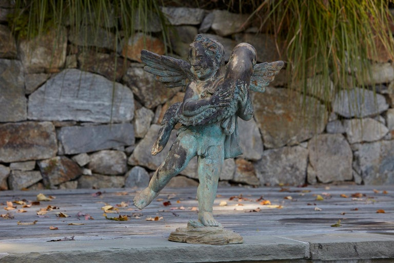 American After Verrocchio, Detailed Bronze Water Garden Statue of Cherub and Fish, 1940s For Sale