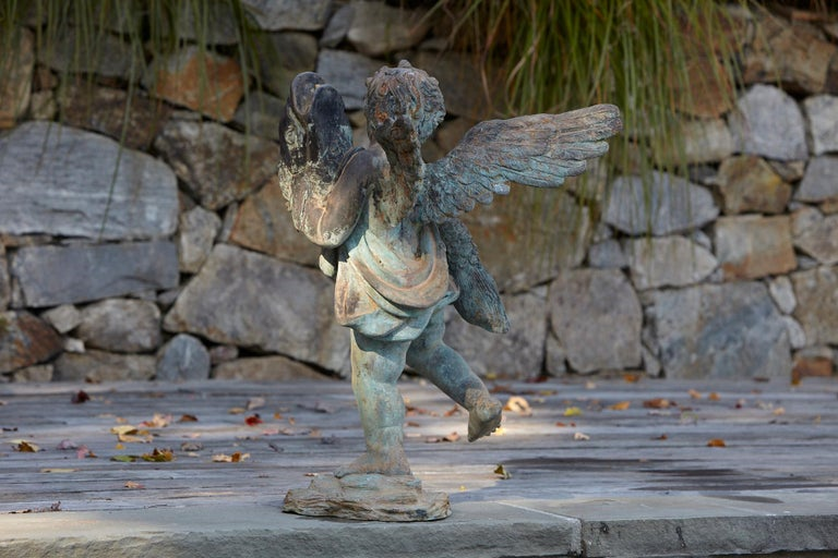 After Verrocchio, Detailed Bronze Water Garden Statue of Cherub and Fish, 1940s For Sale 1