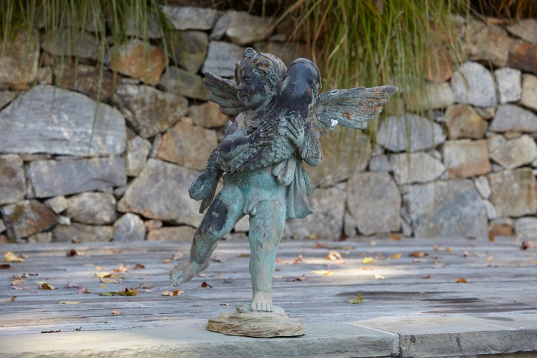 After Verrocchio, Detailed Bronze Water Garden Statue of Cherub and Fish, 1940s For Sale 2