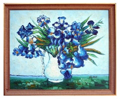 Blue Iris and White Pitcher