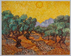 """Vincent van Gogh - """"Olive Trees with Yellow Sky and Sun"""", hand-painted repr."""