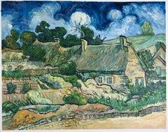 "Vincent van Gogh - ""Thatched Cottages at Cordeville"", hand-painted repr."