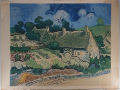 Chaume Cottages near Auvers-sur-Oise, Lithograph (Mourlot), 1954