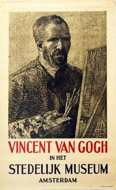 Original Vintage Art Exhibition Poster Vincent Van Gogh In Het Stedelijk Museum
