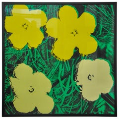 After Warhol Flowers Sunday B. Morning Stamped Numbered Yellow, 1970s