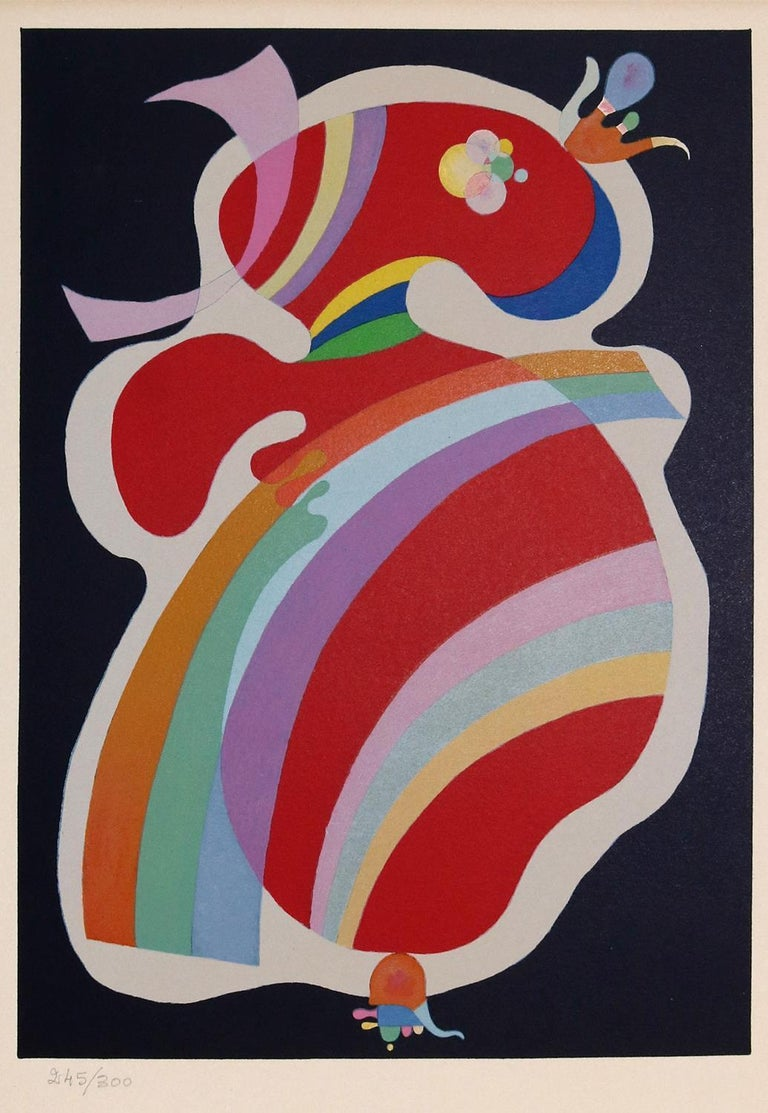 La Forme rouge is a wonderful original print by Vasilij Kandinsky (1866 Mosca - Neuilly 1944).  This is a beautiful color lithograph on wove paper after the original Kandinsky's oil painted artwork realized by the artist in 1938.   Our original