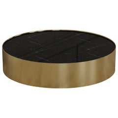 Afterglow Round Coffee Table of Marble and Brass, Made in Italy