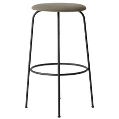Afteroom Bar Stool, Beige Fabric Seat and Black Steel Base