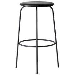 "Afteroom Bar Stool with ""Shade"" Leather Seat and Black Steel Legs"