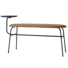 Afteroom Bench by Afteroom, in Black Steel, with Cognac Leather