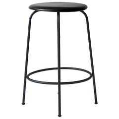 Afteroom Counter Stool, Beige Fabric Seat and Black Steel Base