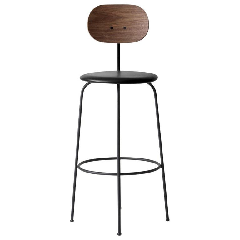 Afteroom Plus, Bar Chair, Black Leather Seat and Walnut Back For Sale