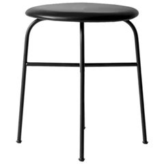 Afteroom Stool, Pitch Black Leather Seat and Black Steel Legs