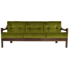 AG Barcelona Mid-Century Modern Velvet and Walnut Three-Seat Sofa, Spain 1970