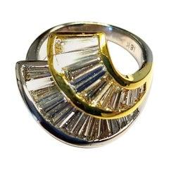 AGA Certified 18K 2-Tone Ring with Baguette Cut Diamonds G/H VVS2-VS1 2.30 Carat