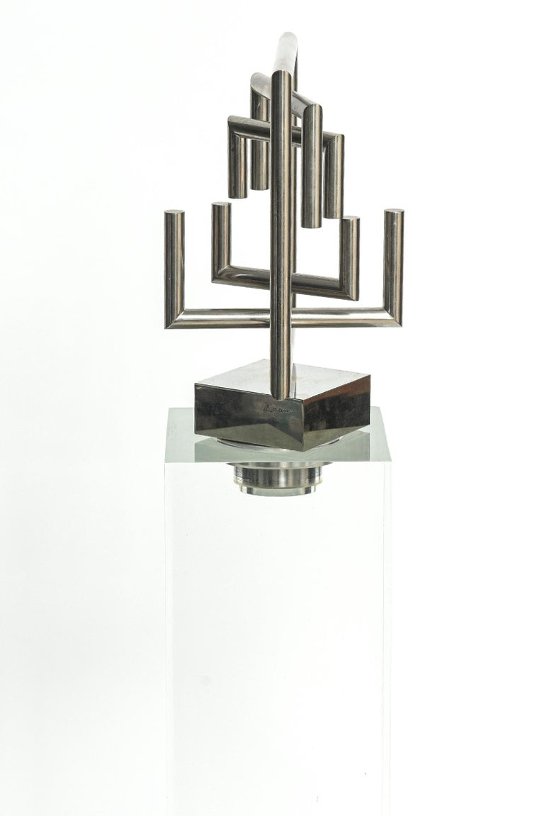 Late 20th Century Agam Kinetic Space Divider Sculpture Limited Edition Artist Proof & Lucite Stand For Sale